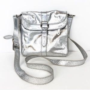COLE HAAN Silver leather snakeskin Crossbody Bag